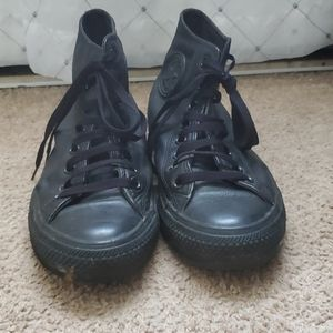 Black Leather Chuck Taylor's